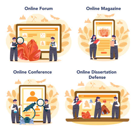Mineralogist online service or platform set. Professional scientist studying natural stone and mineral. Online forum, magazine, dessertation defense and conference. Isolated vector illustration