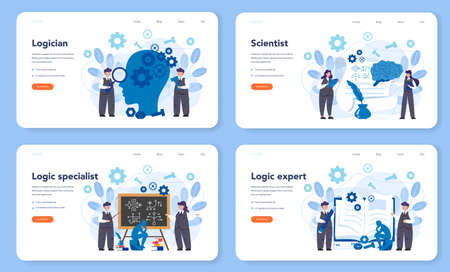 Logician web banner or landing page set. Scientist systematicly study of the forms of inference. Thinking process, the systematic exposition of the logical forms. Isolated vector illustration