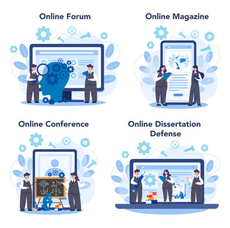 Logician online service or platform set. Scientist systematicly study of the forms of inference. Online forum, magazine, conference, dessertation defense. Isolated vector illustration Stockfoto - 150952020