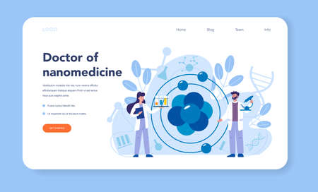 Nanomedic web banner or landing page. Scientists work in labarotary on nanotechnology. Nanomedicine make cure and prevent the treatment of disease. Vector illustration.
