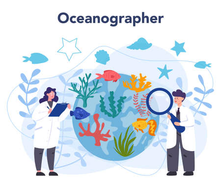 Oceanologist concept. Oceanography scientist. Practical studying all aspects of the world's oceans and seas, including their physical and chemical structure. Isolated vector illustration Illusztráció