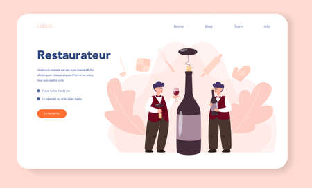 Sommelier web banner or landing page. Man with a bottle of grape wine and glass full of alcohol drink. Grape wine in a wood barrel, wine storage. Isolated vector illustration