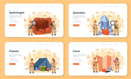 Speleologist web banner or landing page set. Scientst studying caves and other karst features, as well as their make-up and structure. Isolated vector illustration