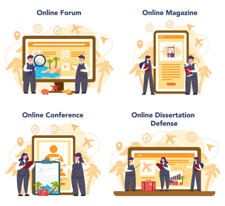 Travel agent online service or platform set. Office worker selling tour, cruise, airway or railway tickets. Online forum, magazine, conference, dessertation defense. Isolated vector illustration