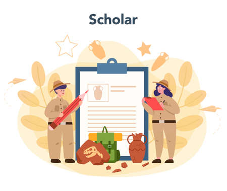 Archaeologist concept. Ancient history scientist, paleontologist. Knowledge of past and ancient. Antique civilization research. Isolated vector illustration in flat style Vettoriali