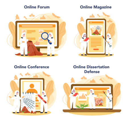 Volcanologist online service or platform set. Geologist studying the processes and activity of volcanoes. Online forum, magazine, conference, dessertation defense. Isolated vector illustration
