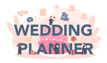 Wedding planner typographic header concept. Professional organizer planning wedding event. Catering and entertainment organization. Bride and fiance mariage planner. Isolated vector illustration Stock Illustratie