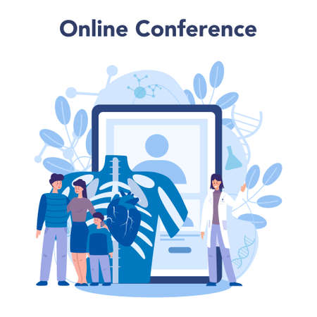 Cardiology online service or platform. Doctor deal with the disorder of the heart. Online conference. Vector illustration.