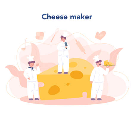Cheese maker concept. Professional chef making block of cheese. Cooker in professional uniform, holding a cheese slice. Cheese production. Isolated vector illustration