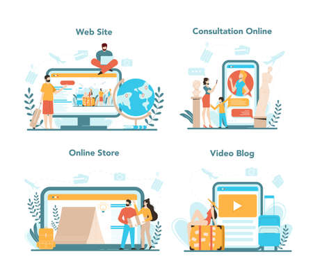 Travel agency online service or platform set. Office worker selling tour, cruise, airway or railway tickets. Web site, online consultation, store, video blog. Isolated vector illustration