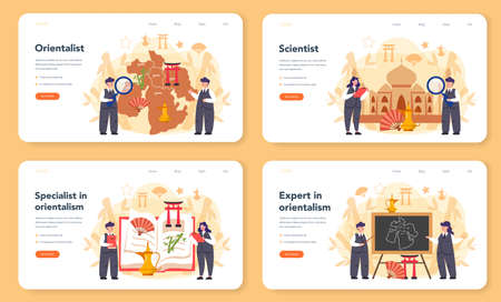 Orientalist web banner or landing page set. Professonal scientist studying Near Eastern and Far Eastern society and culture. Middle Eastern studies and Asian studies. Isolated vector illustration Ilustração
