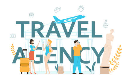 Travel agency typographic header concept. Office worker selling tour, cruise, airway or railway tickets. Vacation organization agency, hotel booking. Isolated vector illustration