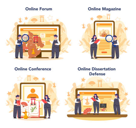 Orientalist online service or platform set. Professonal scientist studying Near Eastern and Far Eastern. Online forum, magazine, dessertation defense and conference. Isolated vector illustration