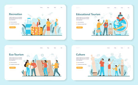 Travel agent web banner or landing page set. Office worker selling tour, cruise, airway or railway tickets. Vacation organization agency, hotel booking. Isolated vector illustration