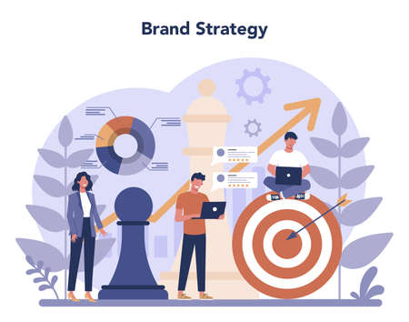 Brand manager concept. Marketing specialist create unique design of a company. Brand recognition as a part of business strategy. Isolated flat illustration