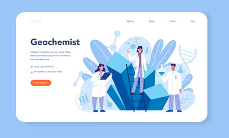 Chemistry science web banner or landing page. Scientific experiment in the laboratory. Science equipment, chemical research. Biochemistry and geochemistry, Isolated vector illustration Çizim
