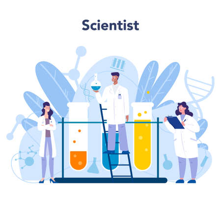 Chemistry science concept. Scientific experiment in the laboratory. Science equipment, chemical research. Biochemistry and geochemistry, Isolated vector illustration in flat style Çizim