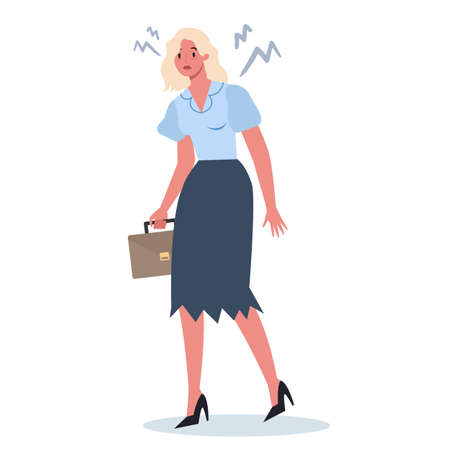 Exhausted business woman in the office. Business character with lack of energy. Professional burnout or long working day concept. Vector illustration in cartoon style