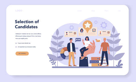 Job interview web banner or landing page. Idea of employment and hiring. Recruitment manager searching. Isolated flat vector illustration