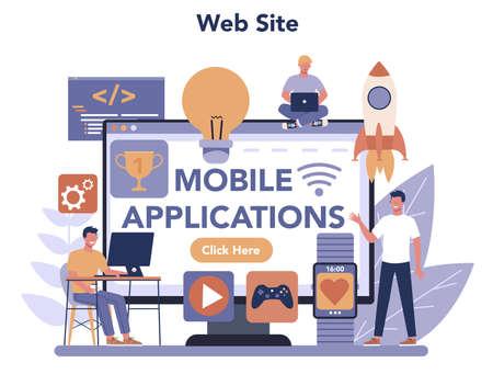 Mobile app development online service or platform. Modern technology and smartphone interface design. web site. Vector flat illustration Ilustracja