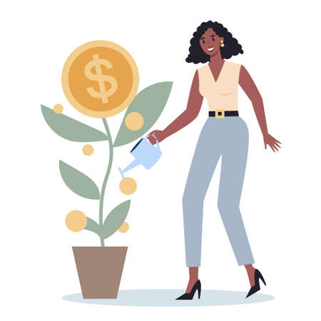 Business character watering a money tree. Happy successfull employee with a golden coin tree. Financial well-being, growth and investment. Isolated vector illustration
