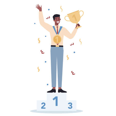 Succeed business man. Winning in competition. Getting reward or prize for achievement. Goal, inspiration, hard work and result. Person with golden trophy cup. Isolated flat vector illustration