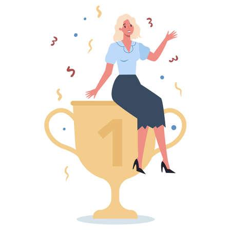 Succeed business woman. Winning in competition. Getting reward Illusztráció