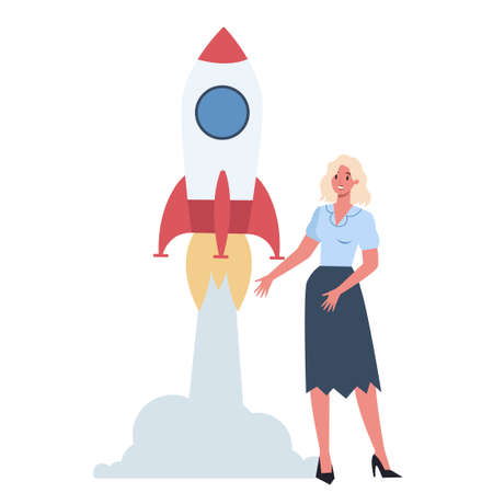 Business character standing near a rocket. Startup concept. Business