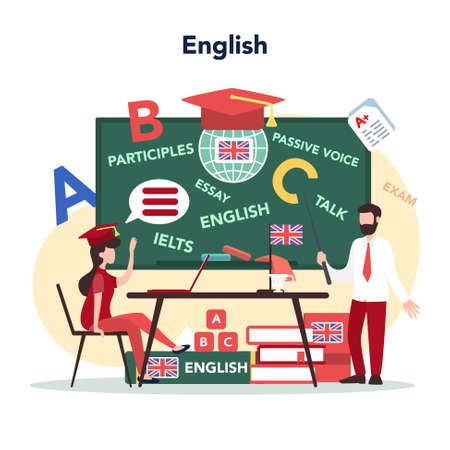 English course concept. Study foreign languages in school or university. Idea of global communication. Studying foreign vocabulary. Flat vector illustration