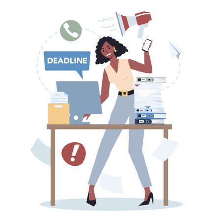 Office character with a lot of work set. Deadline and busy lifestyle concept. Idea of many work and few time. Employee stressing in office. Business problems. Flat vector illustration
