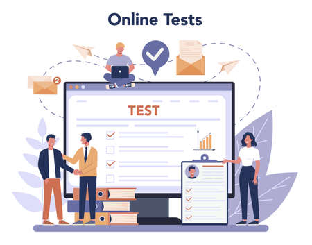 Job interview online service or platform. Idea of employment and hiring. Online test. Recruitment manager searching. Isolated flat vector illustration Ilustração
