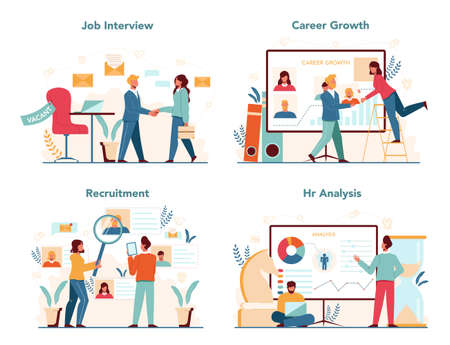 Human resources manager concept set. Idea of recruitment and job