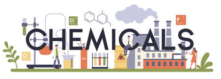 Chemical industry typographic header concept. Industrial chemistry