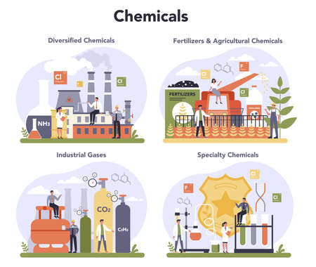 Chemical industry concept set. Industrial chemistry and chemicals Illustration