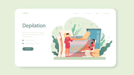 Depilation and epilation web banner or landing page. Hair removal methods idea. Epilation beauty procedure. Idea of body and skin care and beauty. Isolated vector illustration Vettoriali