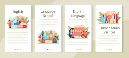 English class mobile application banner set. Study foreign languages in school or university. Idea of global communication. Studying foreign vocabulary. Flat vector illustration