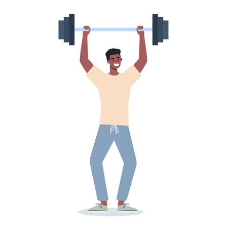 People doing sport. Different sport activity. Young adult doing sport. Man doing exercise in gym. Isolated vector illustration in cartoon style 일러스트