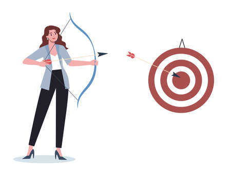 Business character aiming in target and shooting with arrow. Employee Vektorové ilustrace