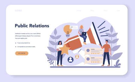 Public relations web banner or landing page. Idea of making Ilustração