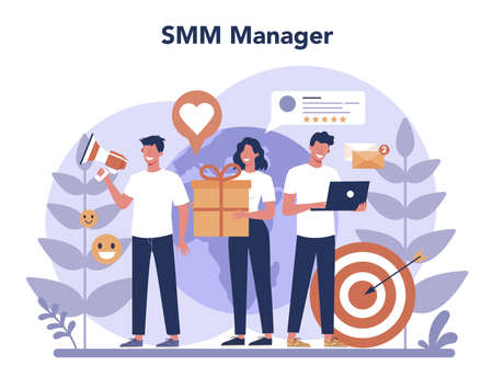 SMM social media marketing concept. Advertising of business