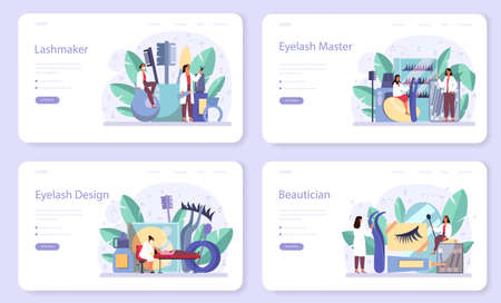 Lashmaker concept web banner or landing page set. Beauty center procedur. Female character puting fake eyelashes in salon. Isolated vector illustration