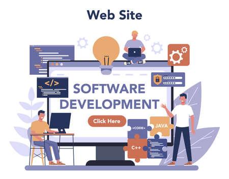 Software developer online service or platform. Idea of programming and coding, system development. Web site. Isolated vector illustration Illustration