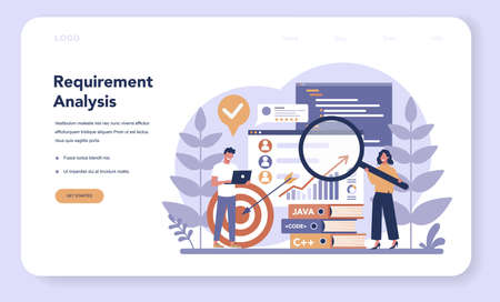 Software web banner or landing page. Idea of programming and coding, system development. Digital technology. Software developing company writing code. Isolated vector illustration