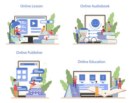 Literature school subject online service or platform set. Idea