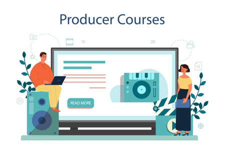 Producer online service or platform. Film and music production. Online producer course, online school. Isolated vector illustration