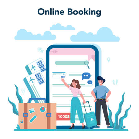 Travel agent online service or platform. Office worker selling tour