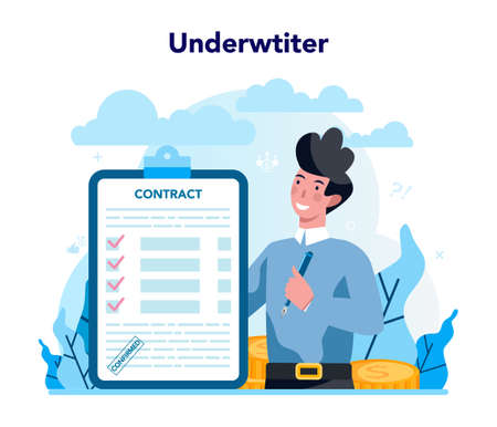 Underwriter concept. Business insurance, financial payment in case
