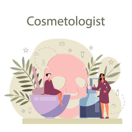 Cosmetologist concept, skin care and treatment. Young woman