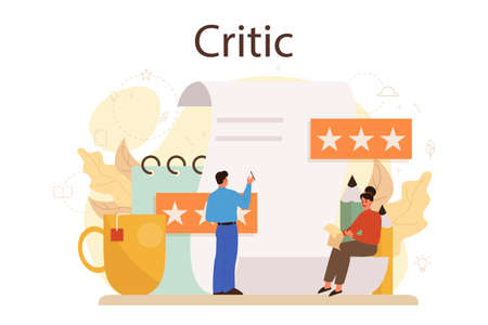 Professional critic concept. Journalist making review and ranking food 일러스트