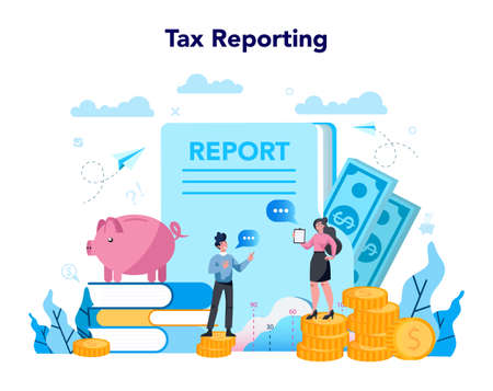 Accountant office manager. Professional bookkeeper. Concept of the tax calculating and financial analysis. Business character making financial operation. Vector illustration